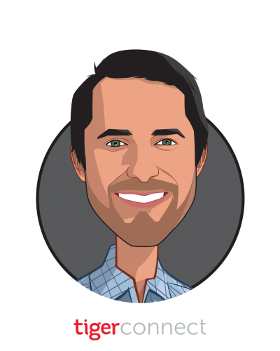 Main caricature of Brad Brooks, who is speaking at HLTH and is CEO at TigerConnect