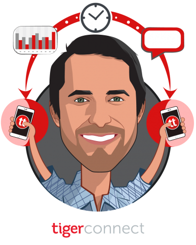Overlay caricature of Brad Brooks, who is speaking at HLTH and is CEO at TigerConnect