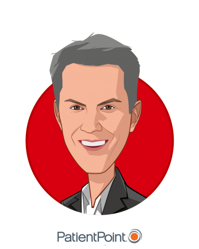 Main caricature of Chris Martini, who is speaking at HLTH and is Chief Provider Officer at PatientPoint