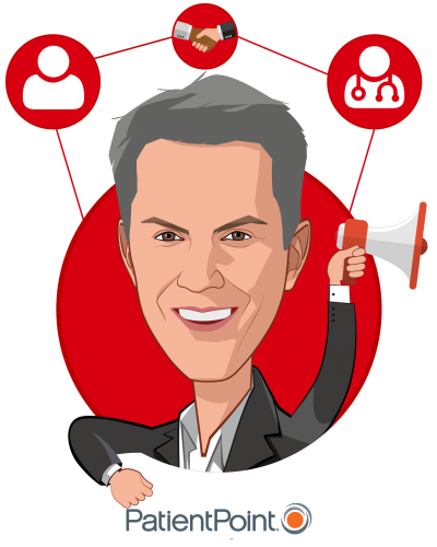 Overlay caricature of Chris Martini, who is speaking at HLTH and is Chief Provider Officer at PatientPoint