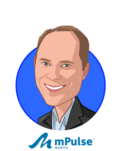 Main caricature of Chris Nicholson, who is speaking at HLTH and is Co-founder & CEO at mPulse Mobile