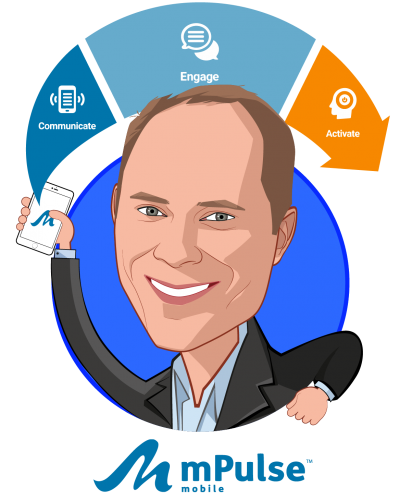 Overlay caricature of Chris Nicholson, who is speaking at HLTH and is Co-founder & CEO at mPulse Mobile