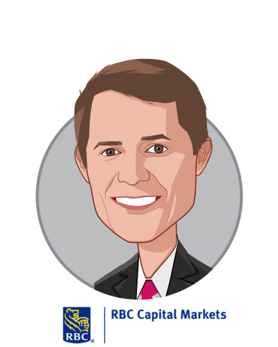 Main caricature of George Hill, who is speaking at HLTH and is Managing Director, Healthcare Technology & Distribution Equity Research at RBC Capital Markets