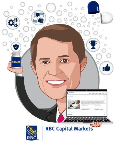 Overlay caricature of George Hill, who is speaking at HLTH and is Managing Director, Healthcare Technology & Distribution Equity Research at RBC Capital Markets
