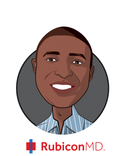 Main caricature of Gil Addo, who is speaking at HLTH and is CEO & Co-founder at RubiconMD