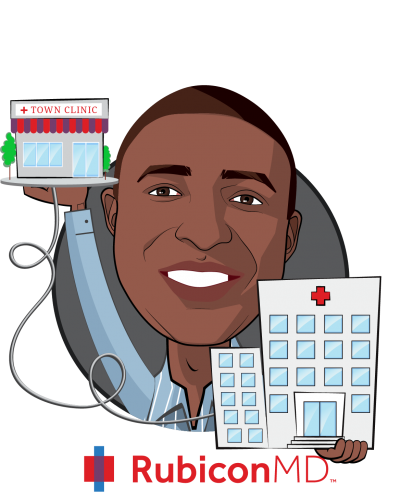 Overlay caricature of Gil Addo, who is speaking at HLTH and is CEO & Co-founder at RubiconMD