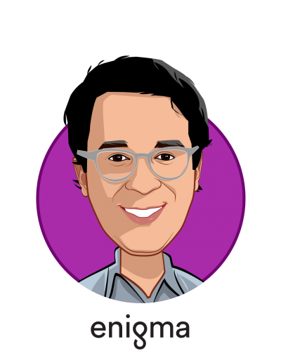 Main caricature of Hicham Oudghiri, who is speaking at HLTH and is Co-Founder & CEO at Enigma Technologies