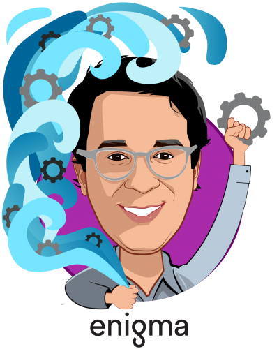 Overlay caricature of Hicham Oudghiri, who is speaking at HLTH and is Co-Founder & CEO at Enigma Technologies