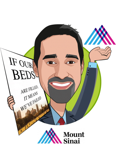 Overlay caricature of Niyum Gandhi, who is speaking at HLTH and is EVP and Chief Population Health Officer at Mount Sinai Health System
