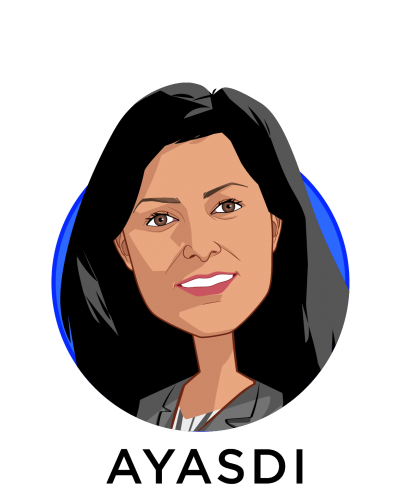 Main caricature of Sangeeta Chakraborty, who is speaking at HLTH and is Chief Customer Officer at Ayasdi