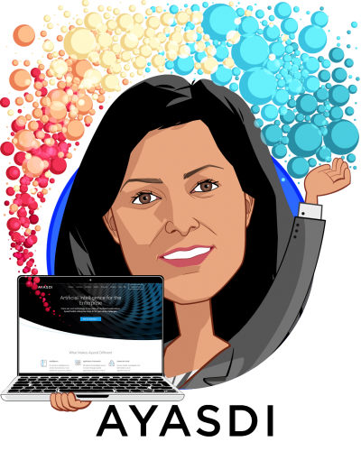 Overlay caricature of Sangeeta Chakraborty, who is speaking at HLTH and is Chief Customer Officer at Ayasdi