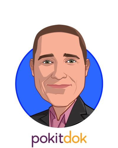 Main caricature of Ted Tanner, Jr., who is speaking at HLTH and is Co-Founder and CTO at PokitDok
