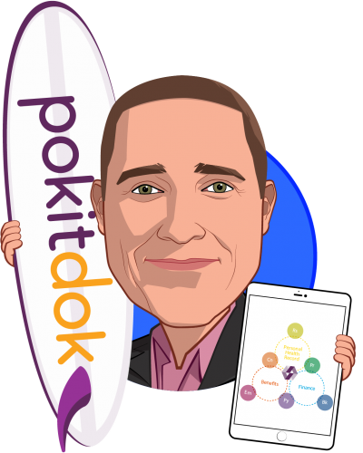 Overlay caricature of Ted Tanner, Jr., who is speaking at HLTH and is Co-Founder and CTO at PokitDok