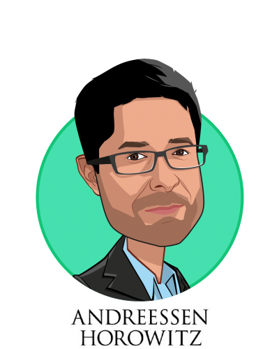 Main caricature of Vijay Pande, who is speaking at HLTH and is General Partner at Andreessen Horowitz