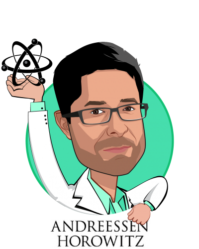 Overlay caricature of Vijay Pande, who is speaking at HLTH and is General Partner at Andreessen Horowitz