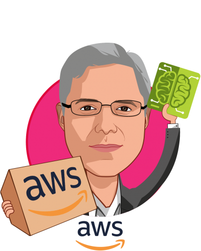 Overlay caricature of Elliot Menschik, MD PhD, who is speaking at HLTH and is Healthcare + Life Science Ventures at Amazon Web Services