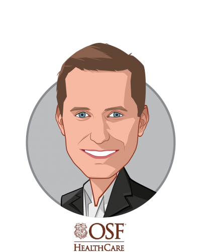 Main caricature of Garrett Vygantas, M.D., who is speaking at HLTH and is Managing Director at OSF Healthcare Ventures