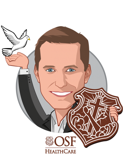 Overlay caricature of Garrett Vygantas, M.D., who is speaking at HLTH and is Managing Director at OSF Healthcare Ventures