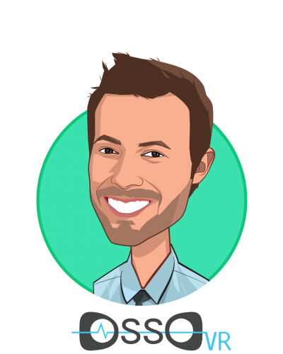 Main caricature of Justin Barad, MD, who is speaking at HLTH and is Co-Founder/CEO at Osso VR Inc.