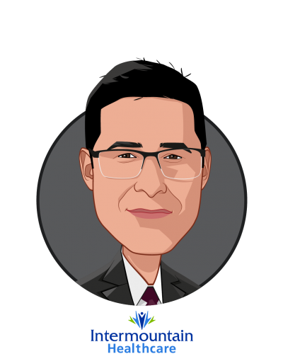 Main caricature of Marc Harrison, MD, who is speaking at HLTH and is President and CEO at Intermountain Healthcare