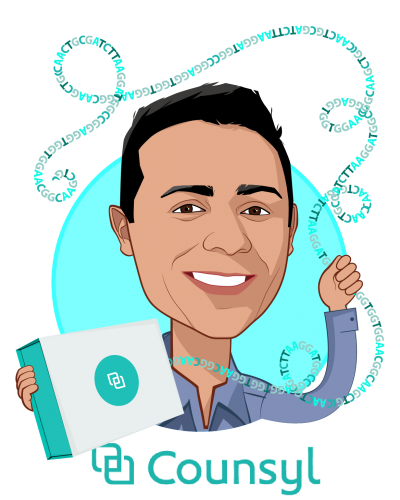 Overlay caricature of Ramji Srinivasan, who is speaking at HLTH and is Co-Founder and Chief Executive Officer at Counsyl