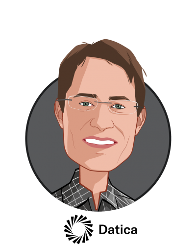 Main caricature of Travis Good, MD, who is speaking at HLTH and is CEO and Co-founder at Datica