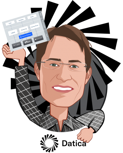 Overlay caricature of Travis Good, MD, who is speaking at HLTH and is CEO and Co-founder at Datica