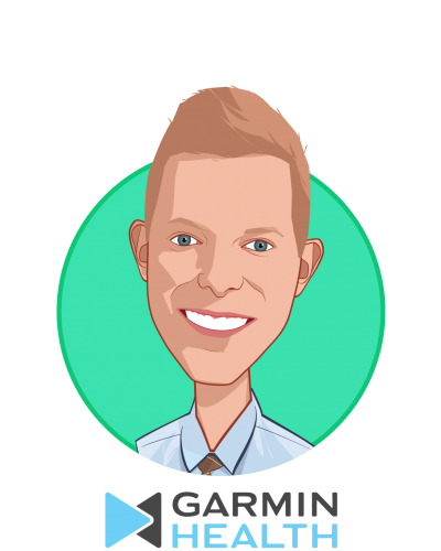 Main caricature of Travis Johnson, who is speaking at HLTH and is Garmin Health, World-Wide Product Lead at Garmin