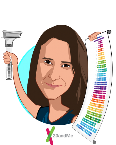 Overlay caricature of Anne Wojcicki, who is speaking at HLTH and is CEO and Co-Founder at 23andMe