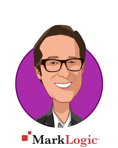 Main caricature of Bill Fox, who is speaking at HLTH and is Global CTO Healthcare, Life Sciences and Insurance at MarkLogic