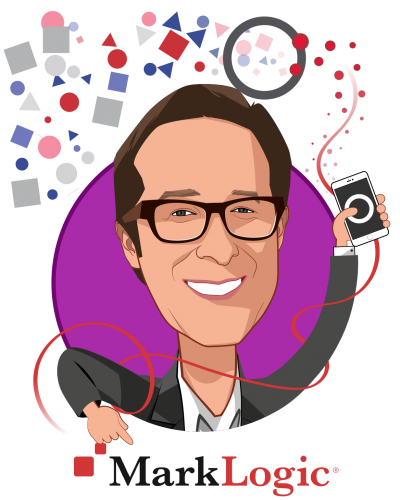 Overlay caricature of Bill Fox, who is speaking at HLTH and is Global CTO Healthcare, Life Sciences and Insurance at MarkLogic
