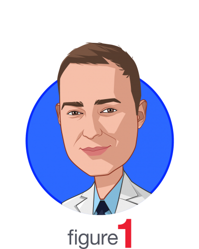 Main caricature of Dr. Joshua Landy, who is speaking at HLTH and is Co-founder and Chief Medical Officer at Figure 1