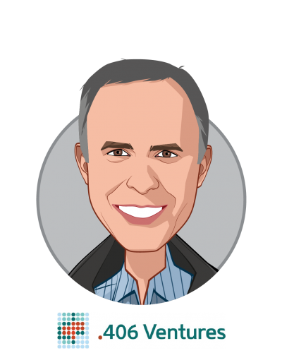 Main caricature of Liam Donohue, who is speaking at HLTH and is Managing Partner at .406 Ventures