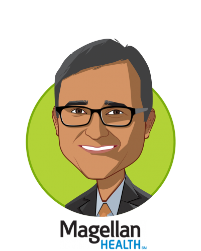 Main caricature of Sam Srivastava, who is speaking at HLTH and is CEO, Magellan Healthcare at Magellan Health