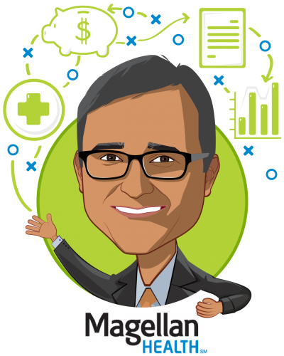 Overlay caricature of Sam Srivastava, who is speaking at HLTH and is CEO, Magellan Healthcare at Magellan Health