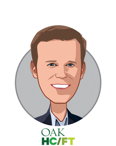 Main caricature of Andrew Adams, who is speaking at HLTH and is Co-Founder & General Partner at Oak HC/FT