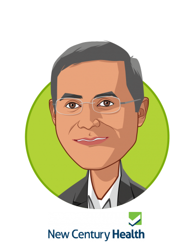 Main caricature of Atul Dhir MD; DPhil, who is speaking at HLTH and is CEO at New Century Health
