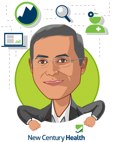 Overlay caricature of Atul Dhir MD; DPhil, who is speaking at HLTH and is CEO at New Century Health