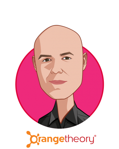 Main caricature of Dave Long, who is speaking at HLTH and is Chief Executive Officer at Orangetheory Fitness