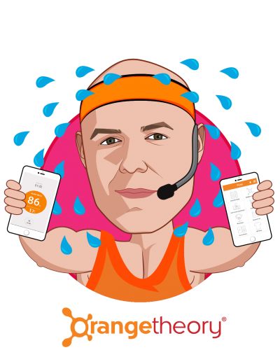 Overlay caricature of Dave Long, who is speaking at HLTH and is Chief Executive Officer at Orangetheory Fitness