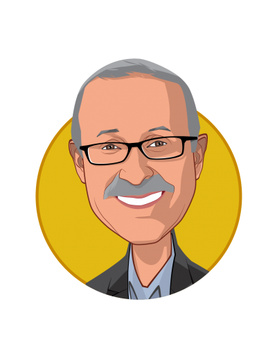 Main caricature of Dennis A. Robbins Ph.D., M.P.H., who is speaking at HLTH and is Principal and Founder at Person Centric Solutions and IDEAS