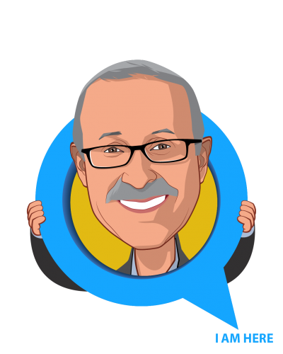 Overlay caricature of Dennis A. Robbins Ph.D., M.P.H., who is speaking at HLTH and is Principal and Founder at Person Centric Solutions and IDEAS