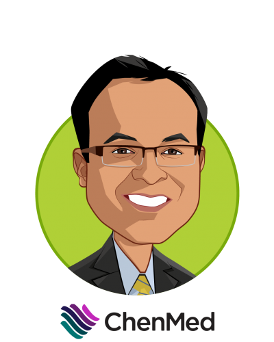 Main caricature of Dr. Gaurov Dayal, who is speaking at HLTH and is President, New Markets and Chief Growth Officer at ChenMed