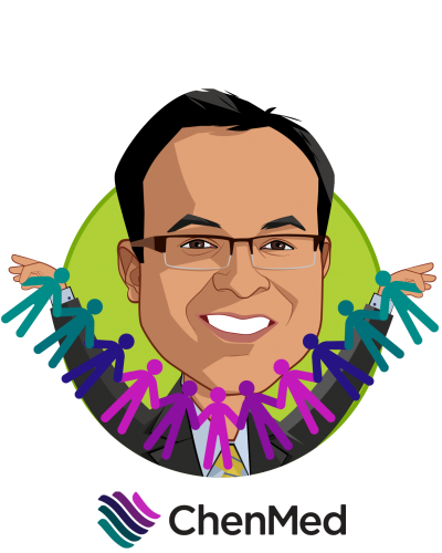 Overlay caricature of Dr. Gaurov Dayal, who is speaking at HLTH and is President, New Markets and Chief Growth Officer at ChenMed