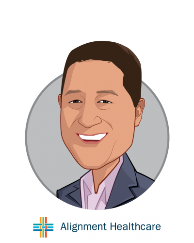 Main caricature of John Kao, who is speaking at HLTH and is President and CEO at Alignment Healthcare
