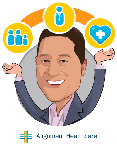 Overlay caricature of John Kao, who is speaking at HLTH and is President and CEO at Alignment Healthcare