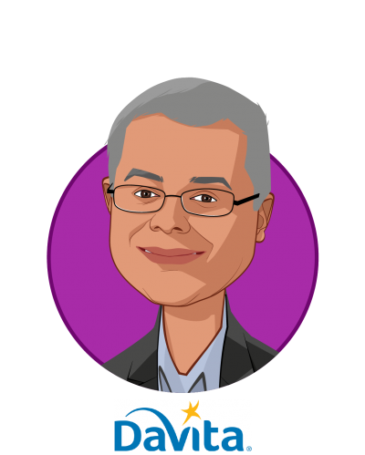 Main caricature of Mahesh Krishnan, who is speaking at HLTH and is Chief Medical Officer, DaVita International at DaVita
