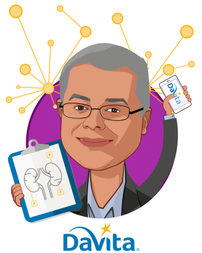 Overlay caricature of Mahesh Krishnan, who is speaking at HLTH and is Chief Medical Officer, DaVita International at DaVita