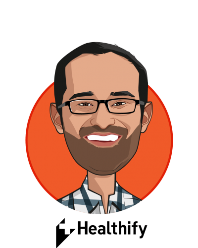 Main caricature of Manik Bhat, who is speaking at HLTH and is Chief Executive Officer at Healthify