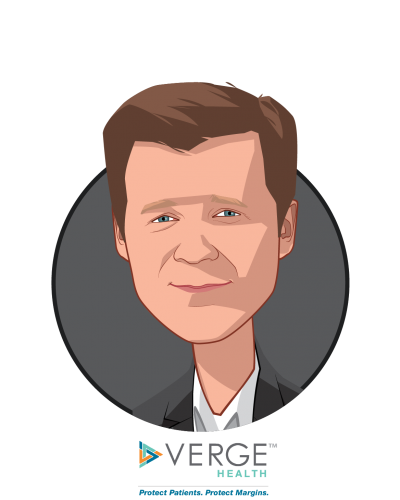 Main caricature of Mark Crockett, MD, who is speaking at HLTH and is Chief Executive Officer at Verge Health